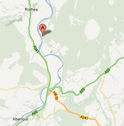 Location of Aikenway Holiday Cottage near Craigellachie Aberlour Moray